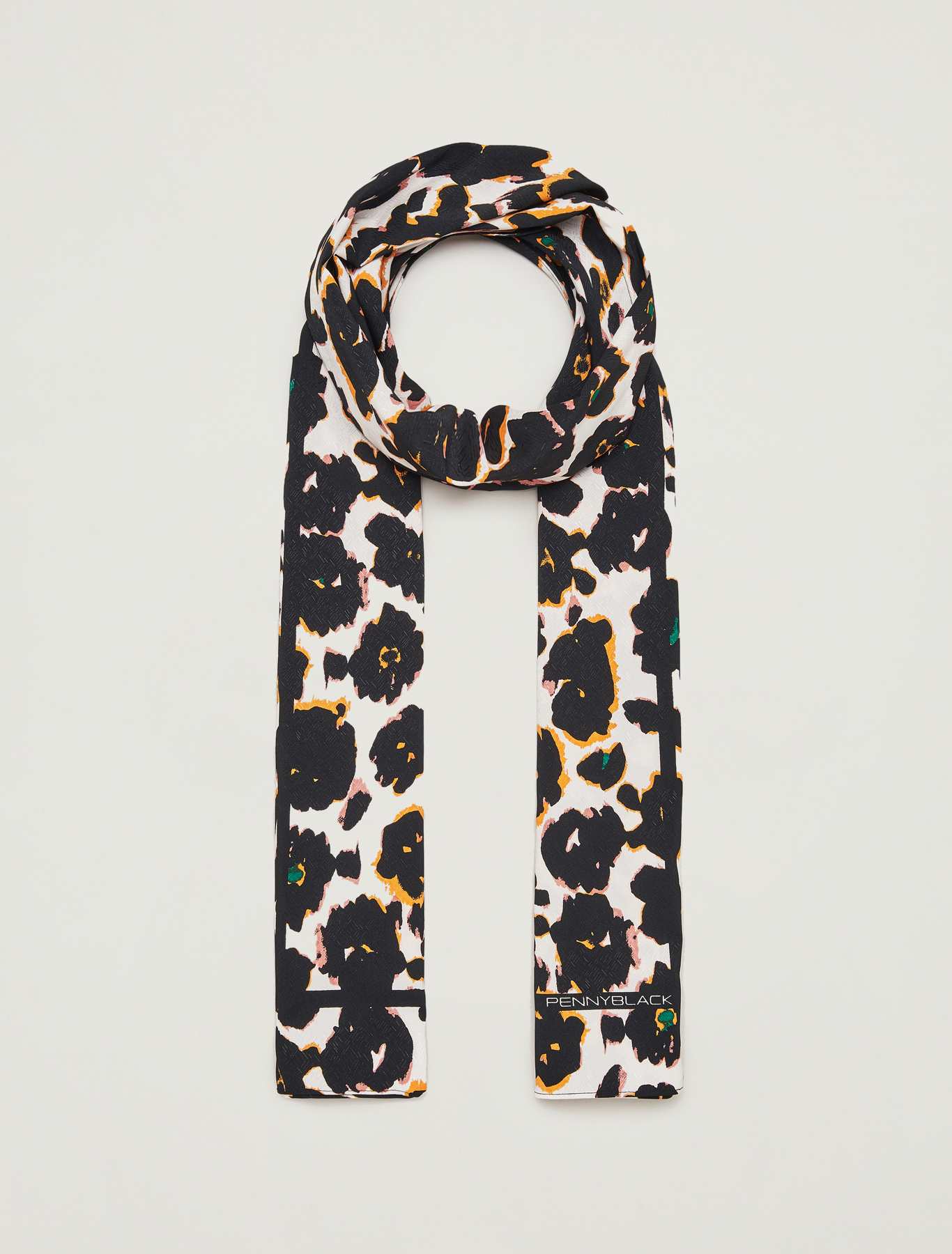 Printed jacquard stole - white - pennyblack