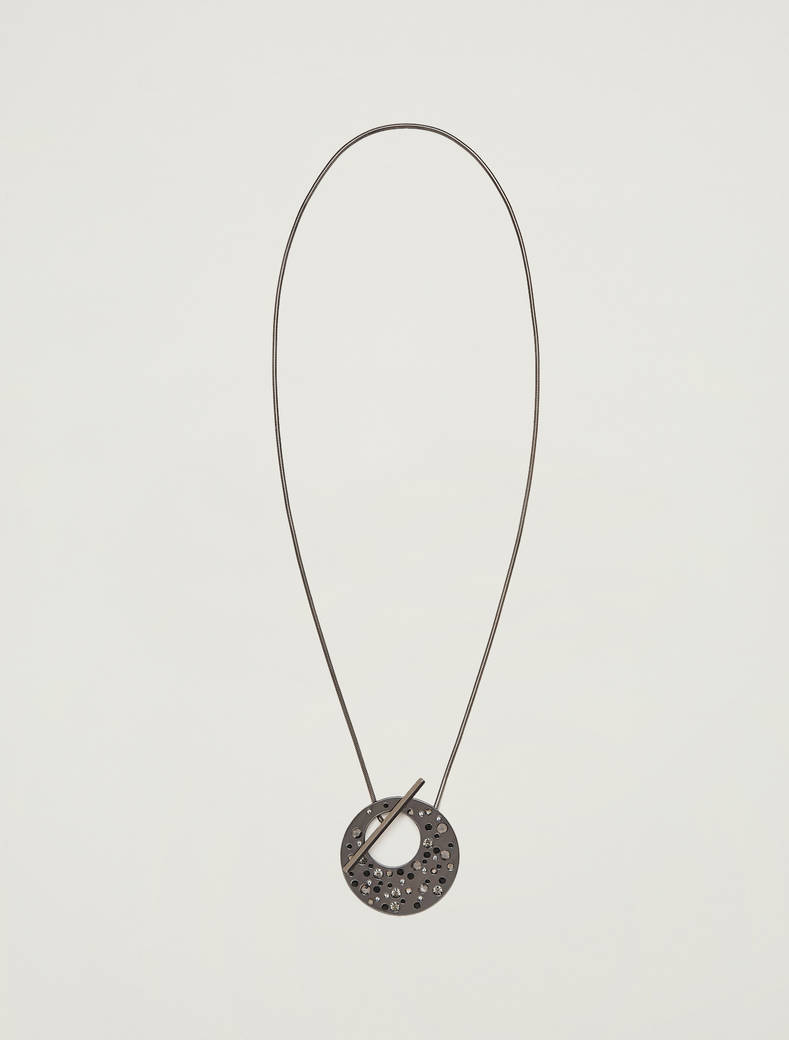 Necklace with pendant and bar - anthracite - pennyblack