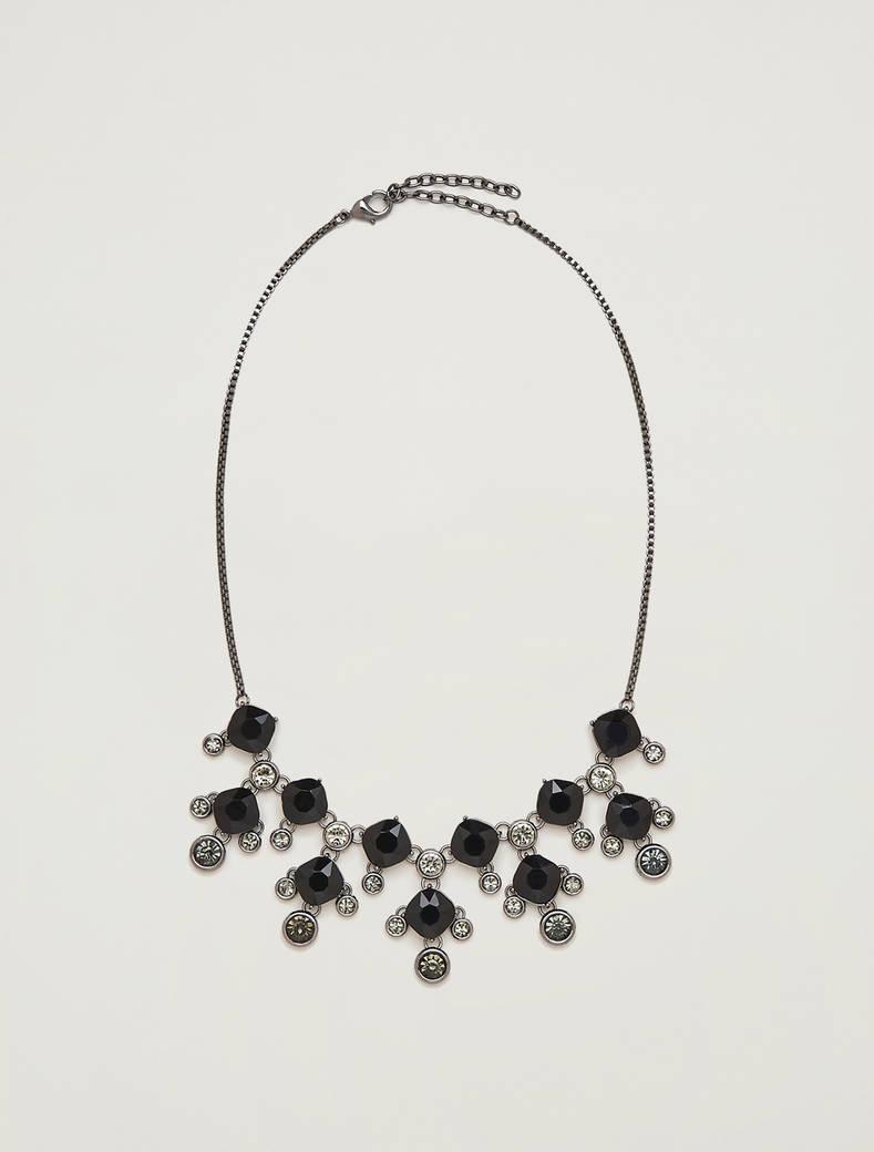 Rhinestone plastron necklace - anthracite - pennyblack