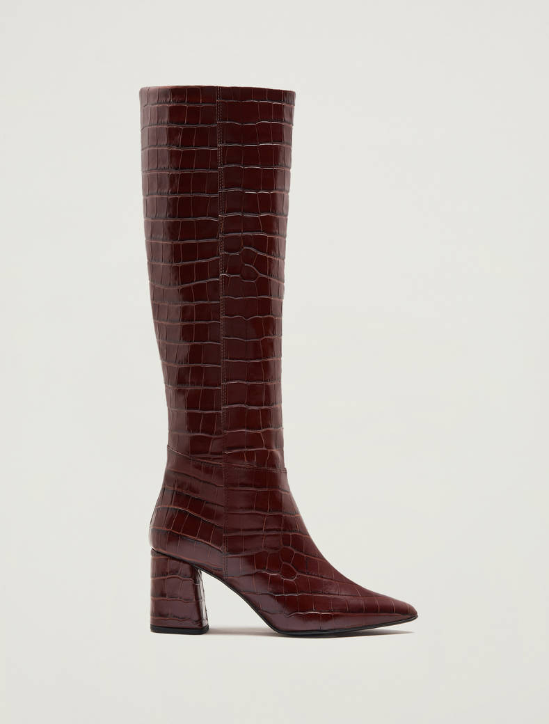 Crocodile-print leather boots - anthracite - pennyblack