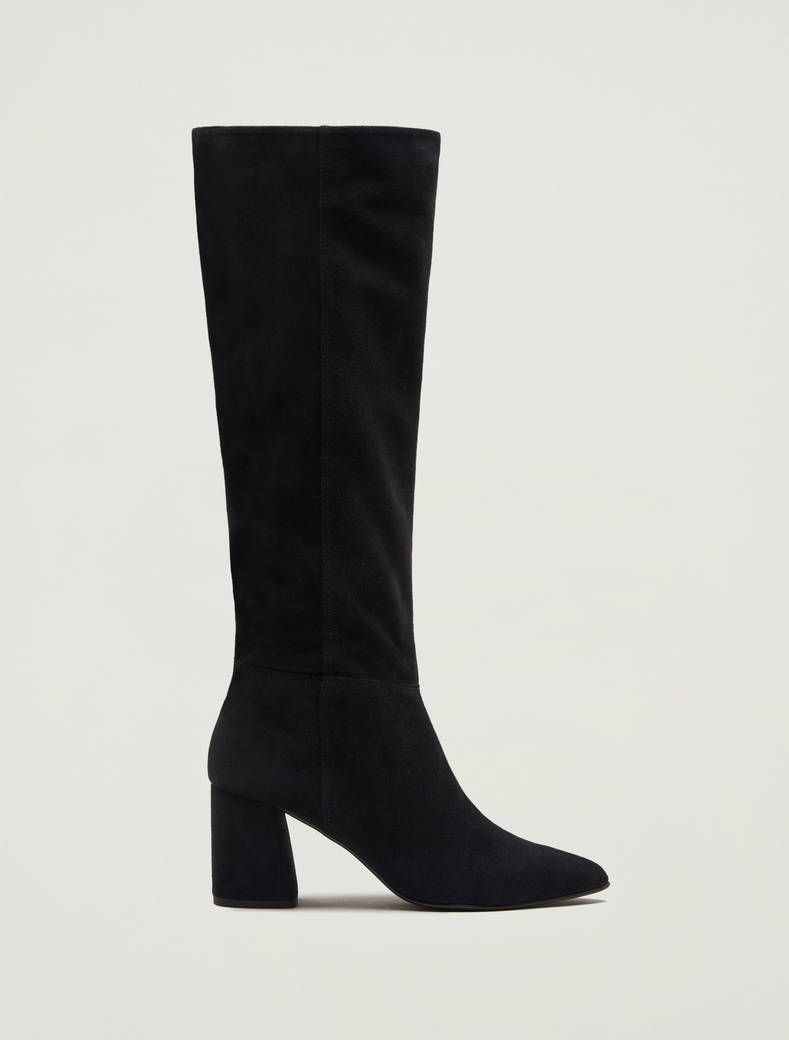 Suede knee-high boots - black - pennyblack