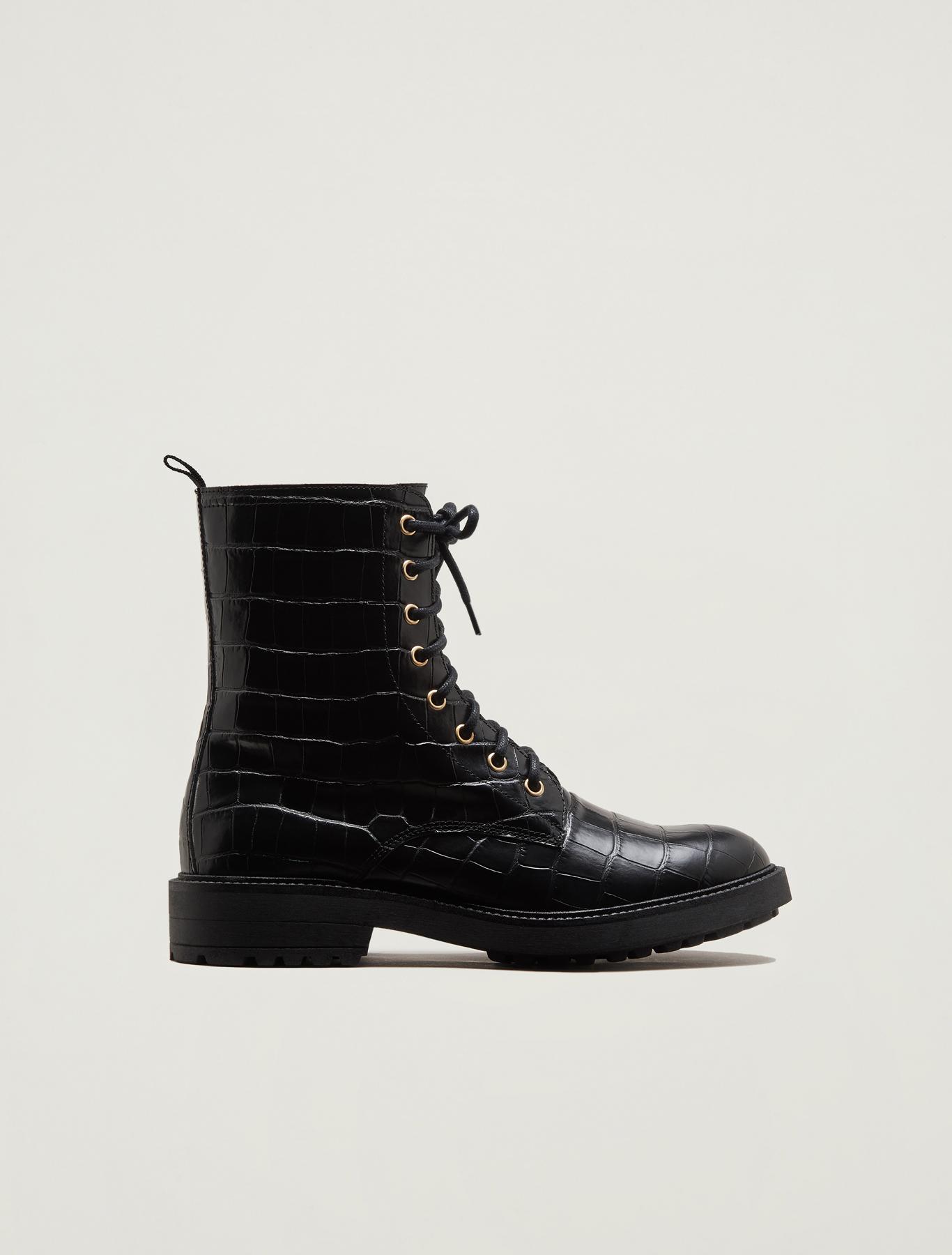 Crocodile-print leather combat boots - black - pennyblack