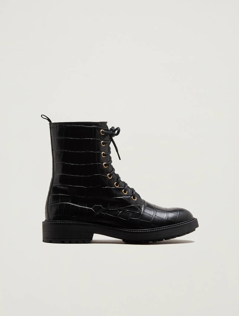Crocodile-print leather combat boots - black - pennyblack