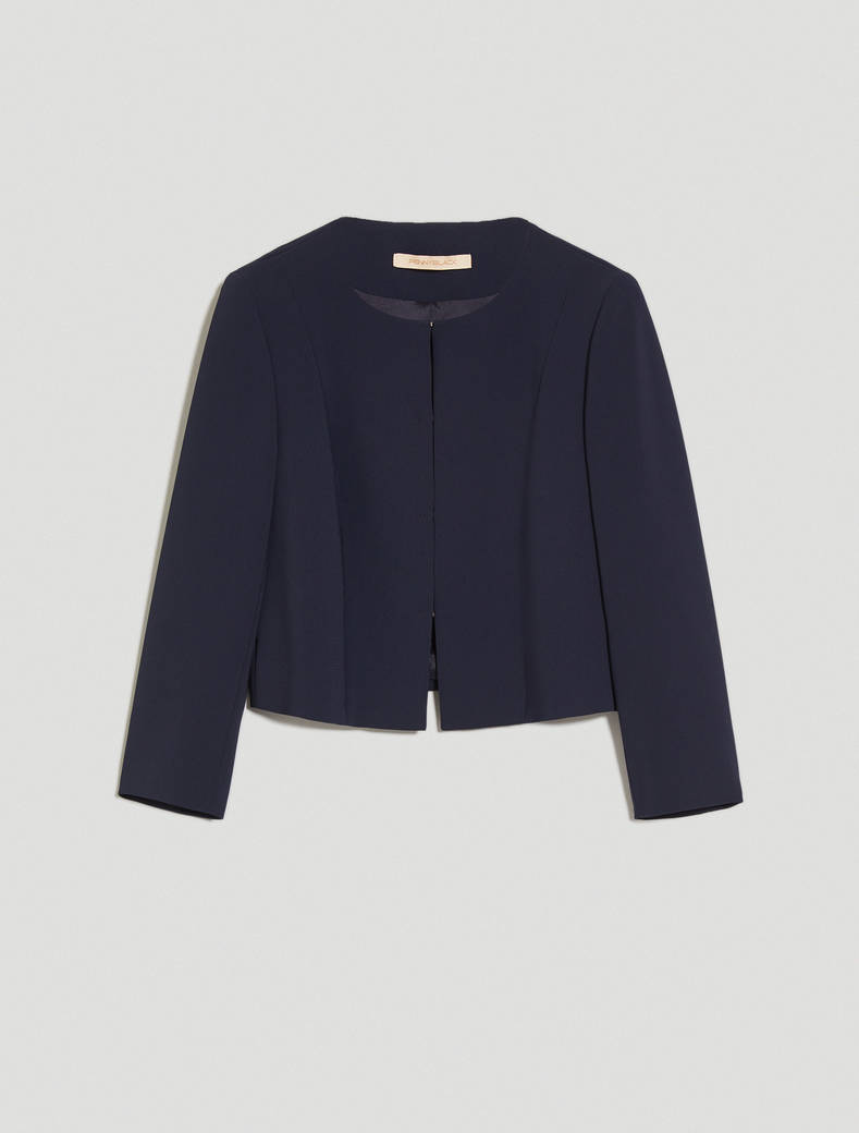 Cropped round-neck jacket - navy blue - pennyblack