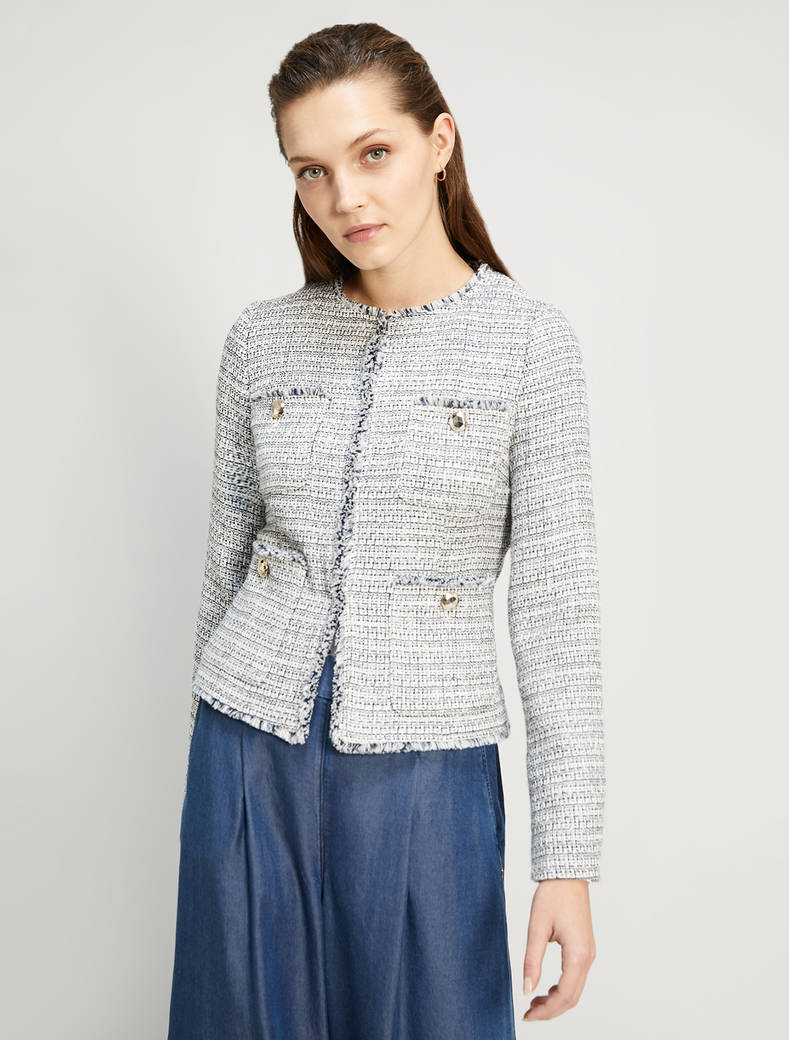 Basketweave lamé jacket - navy blue pattern - pennyblack
