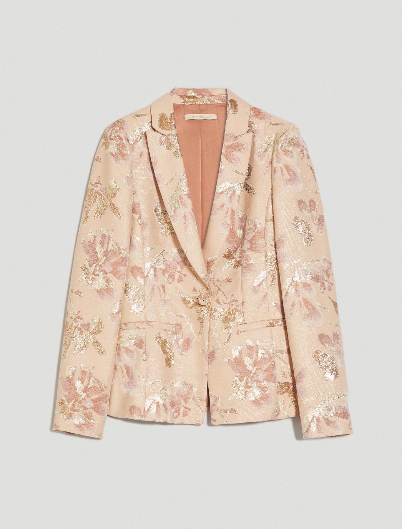 Lamé jacquard blazer - rose pink pattern - pennyblack