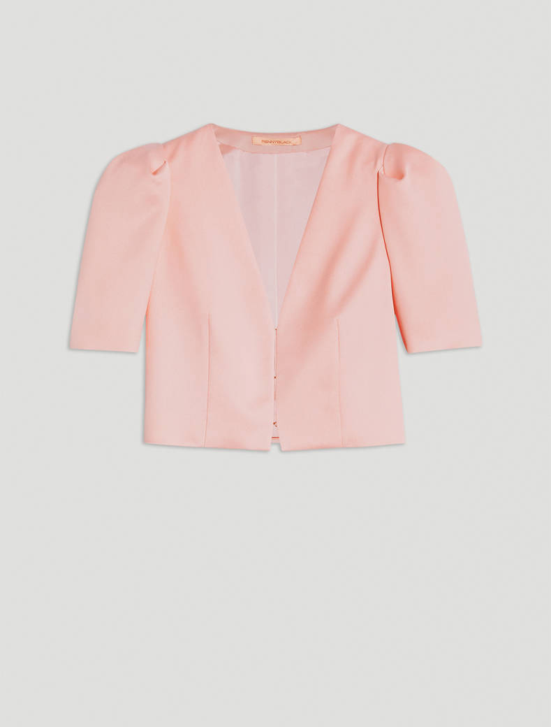 Bolero jacket in envers satin - pink - pennyblack