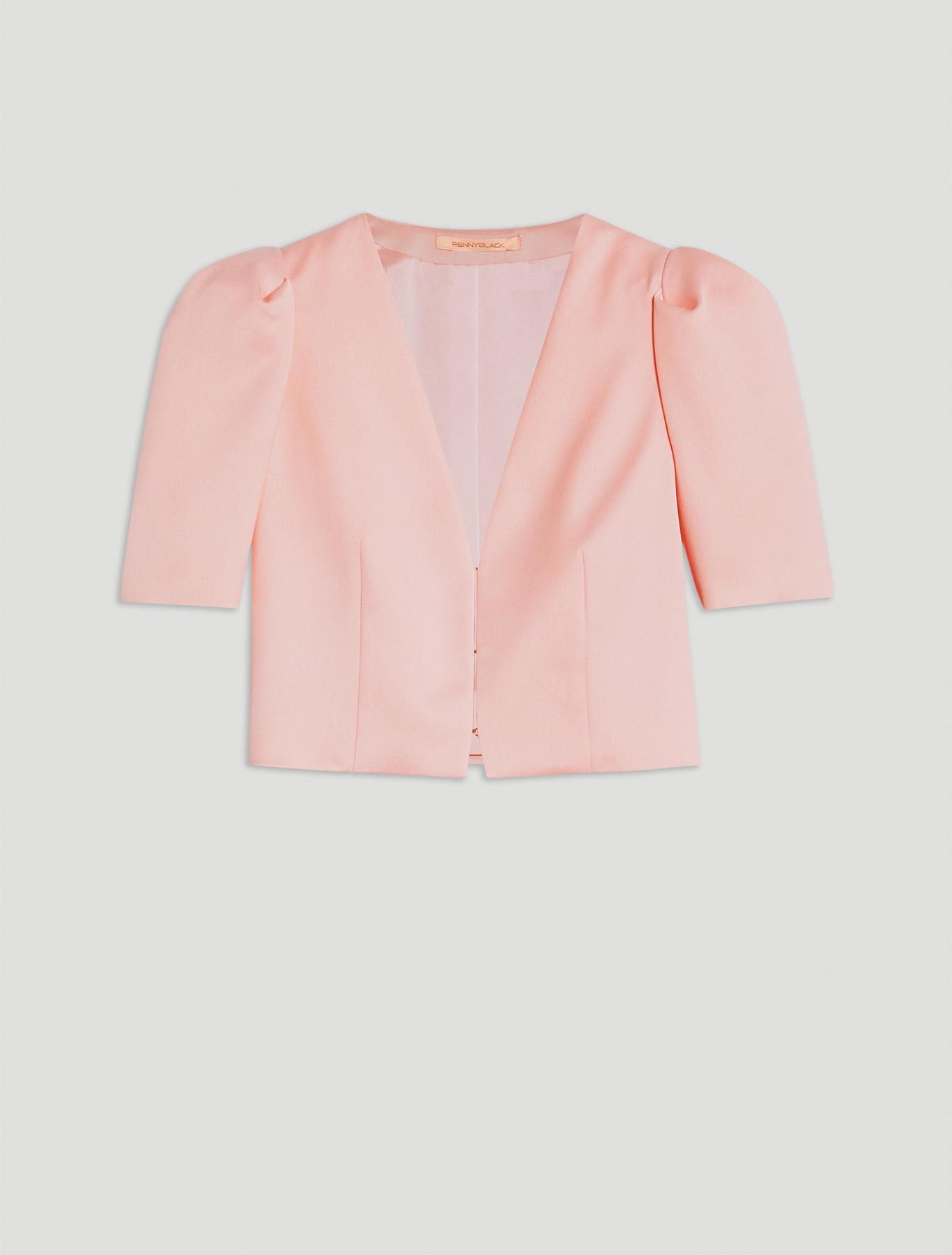 Bolero jacket in envers satin - pink - pennyblack