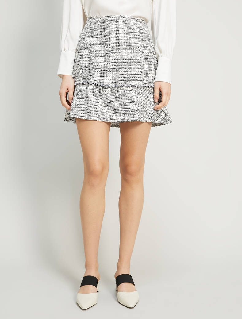 Lamé basketweave mini skirt - navy blue pattern - pennyblack