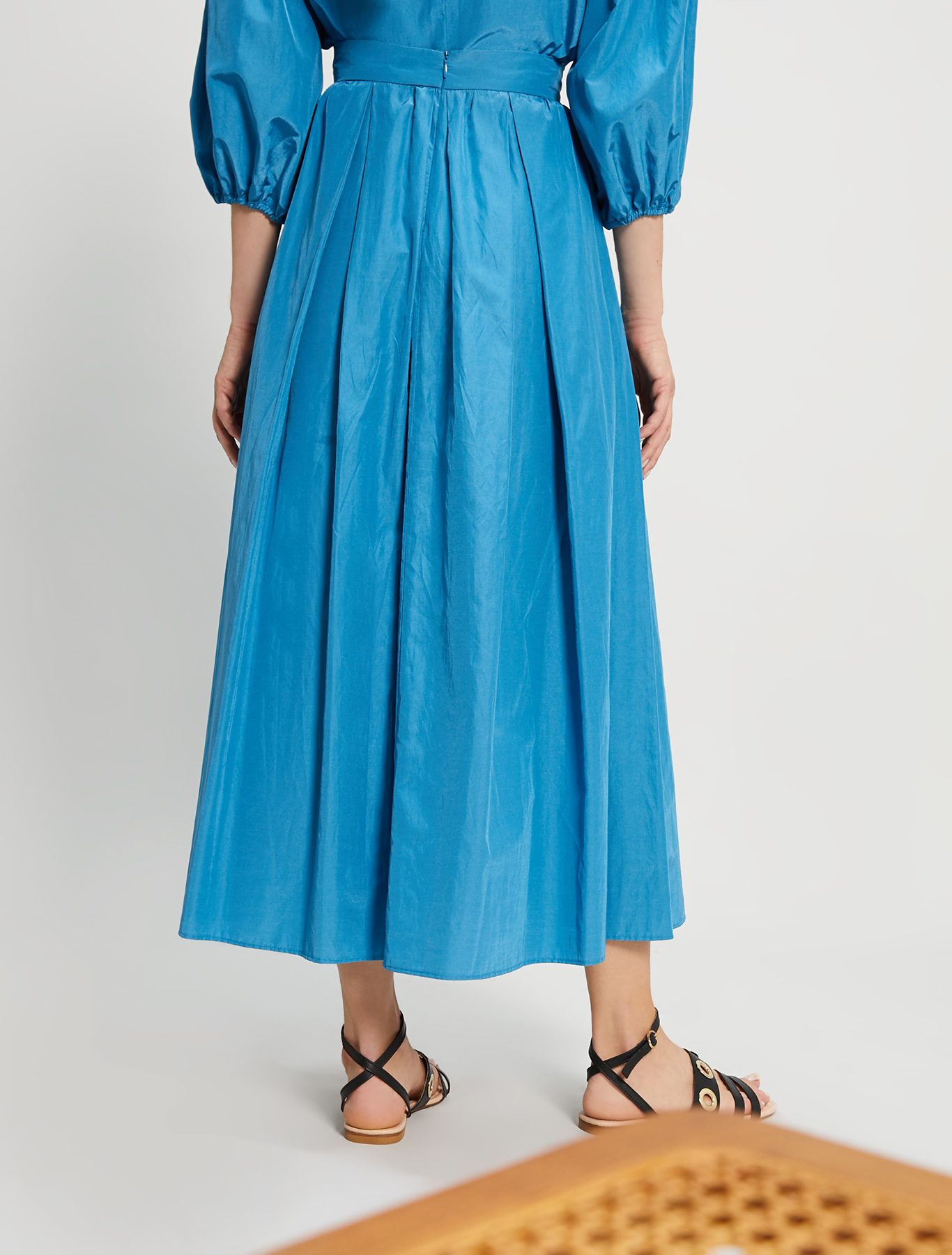 Pleated taffeta skirt - turquoise - pennyblack