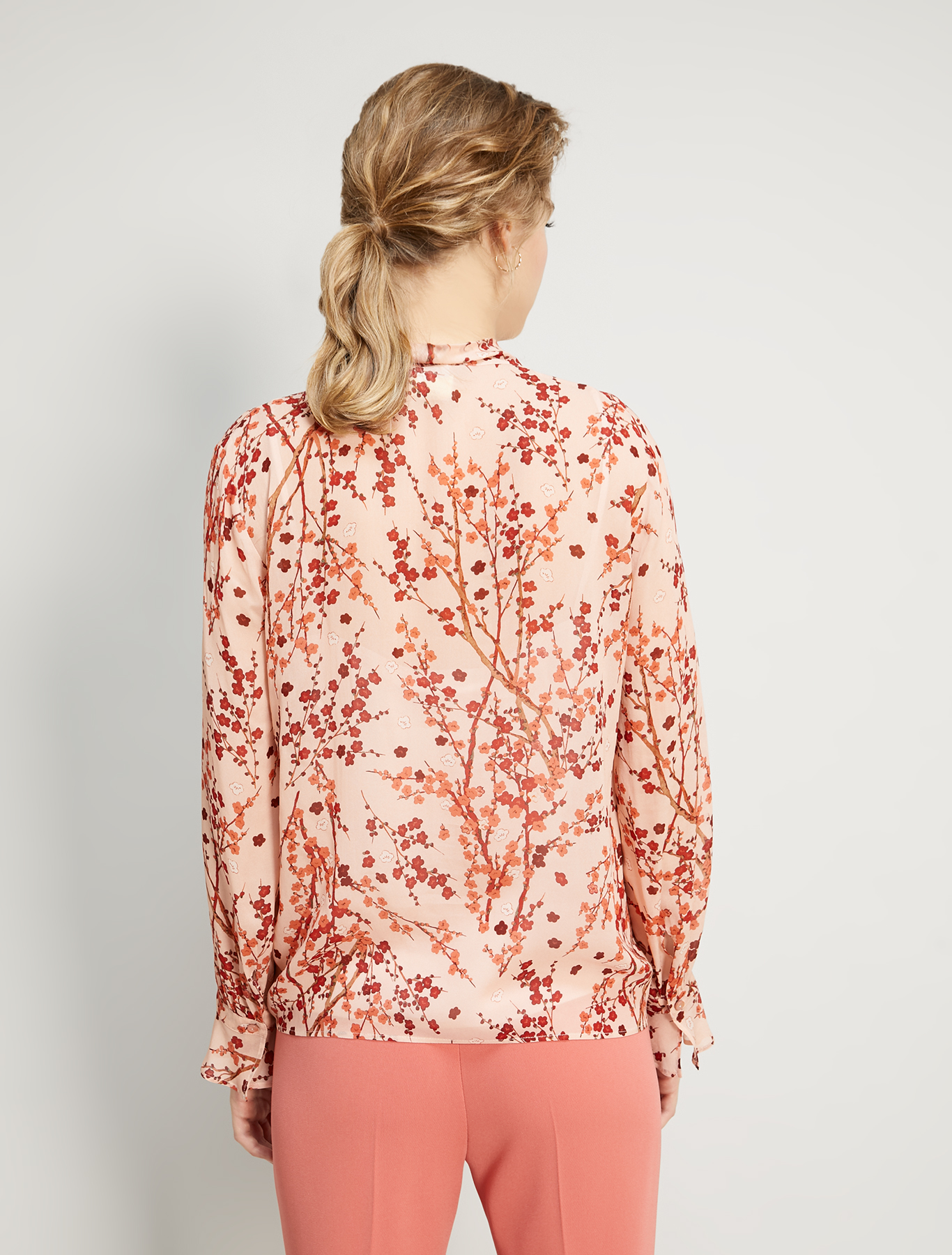 Blouse in floral georgette - rose pink pattern - pennyblack