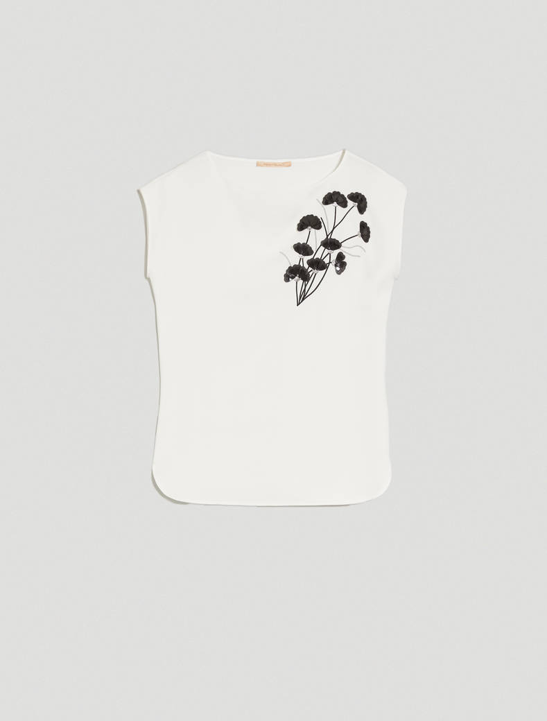 Blouse with 3D flowers - ivory - pennyblack