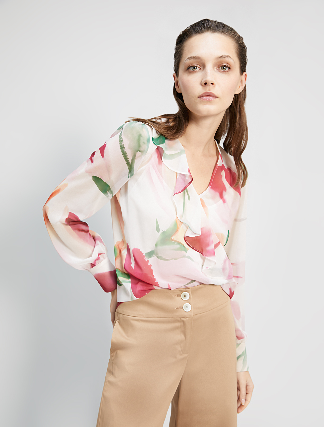 Blouse in floral georgette - ivory pattern - pennyblack