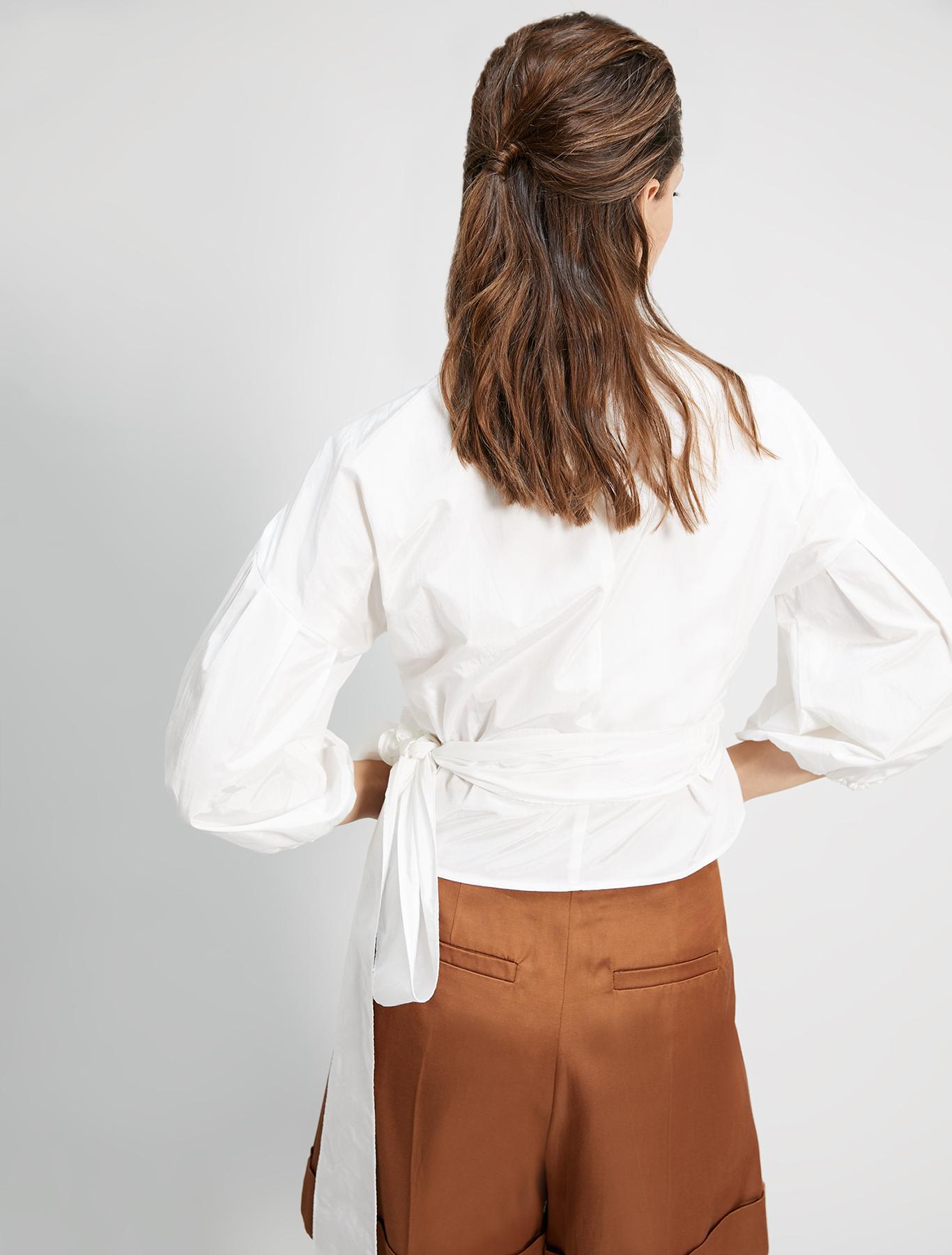 Crossover taffeta shirt - ivory - pennyblack