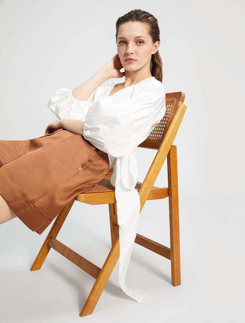 Camicia incrociata in taffettà - bianco avorio - pennyblack