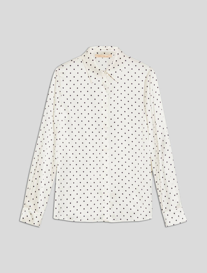 Polka dot satin shirt - white pattern - pennyblack