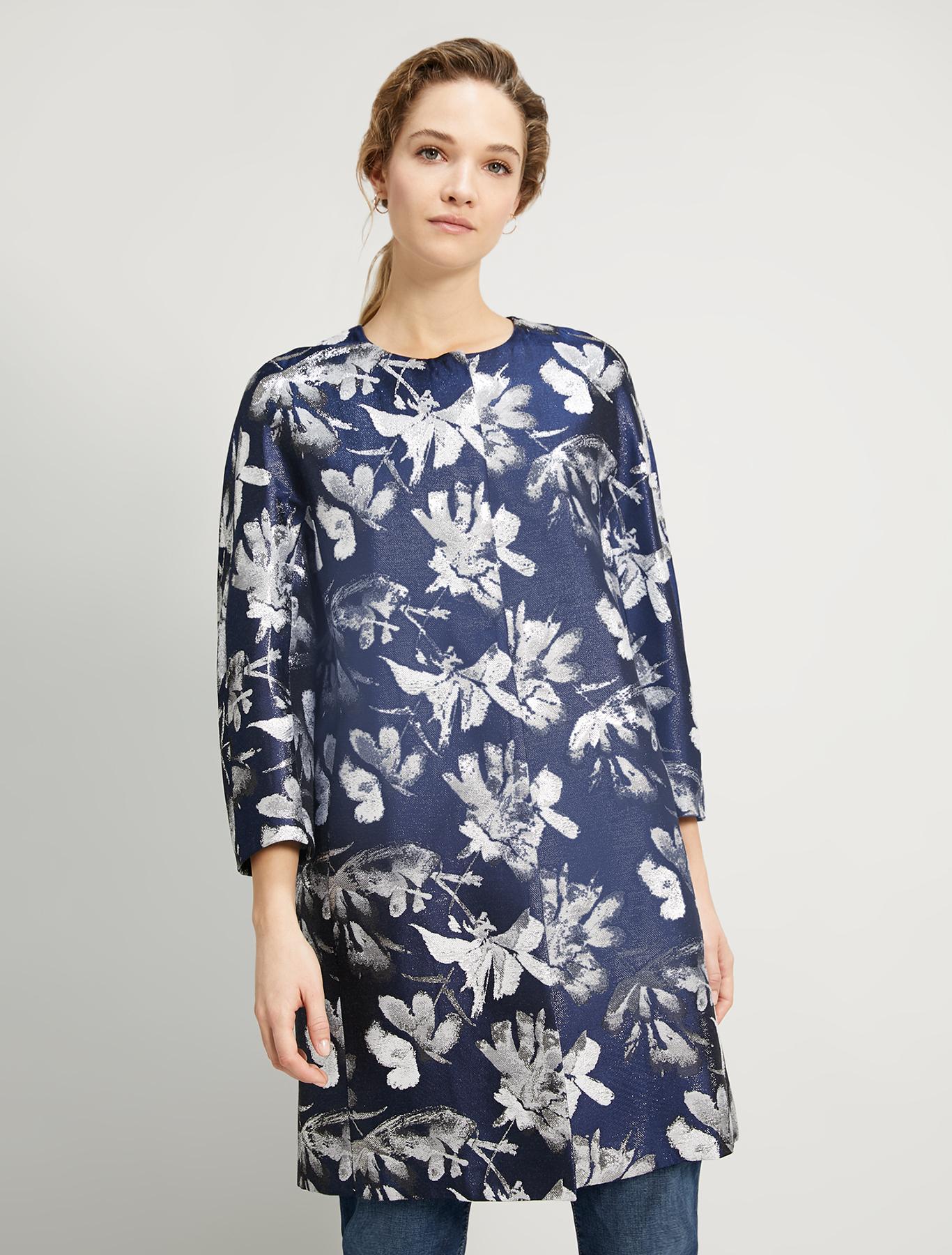 Lamé jacquard overcoat - navy blue pattern - pennyblack