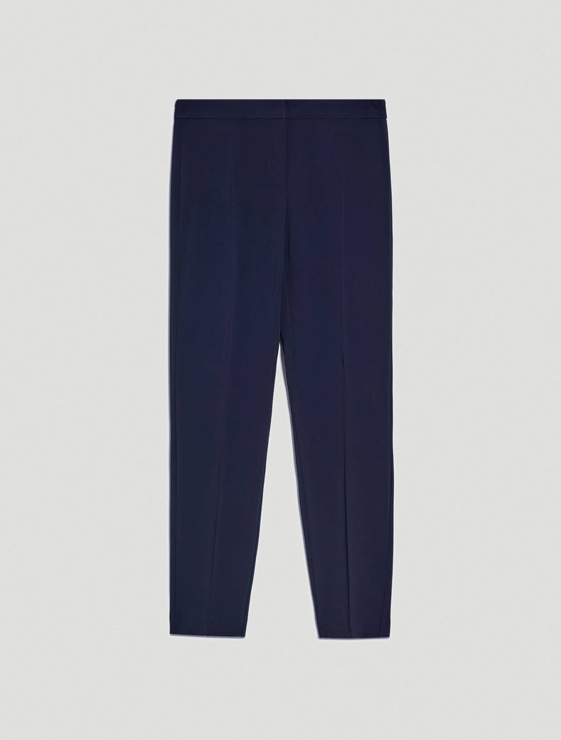 Slim-fit trousers in flowing fabric - navy blue - pennyblack