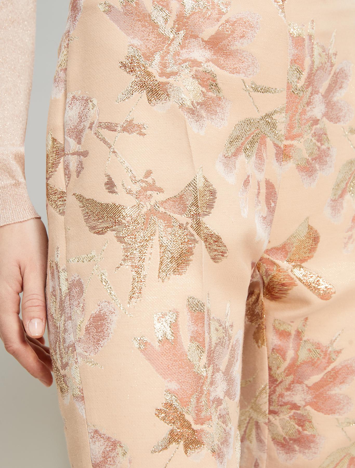 Lamé jacquard trousers - rose pink pattern - pennyblack