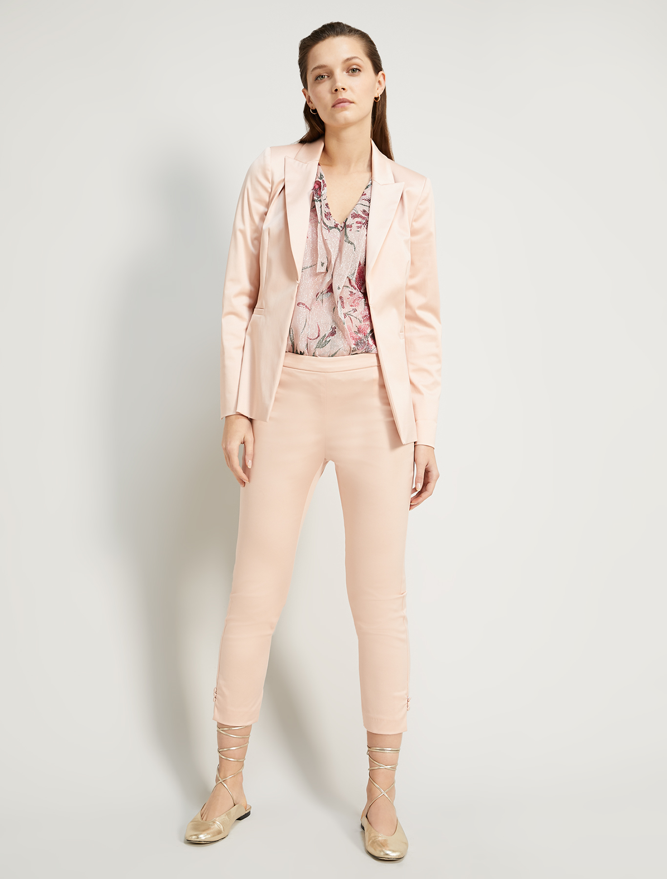 Lamé silk top - rose pink pattern - pennyblack