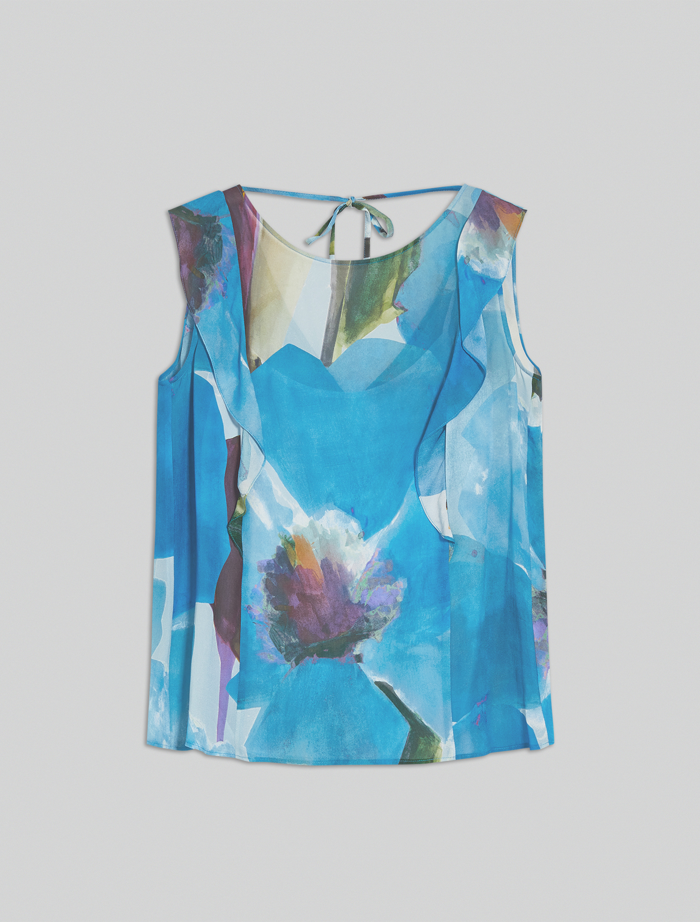 Flounced georgette top - turquoise pattern - pennyblack