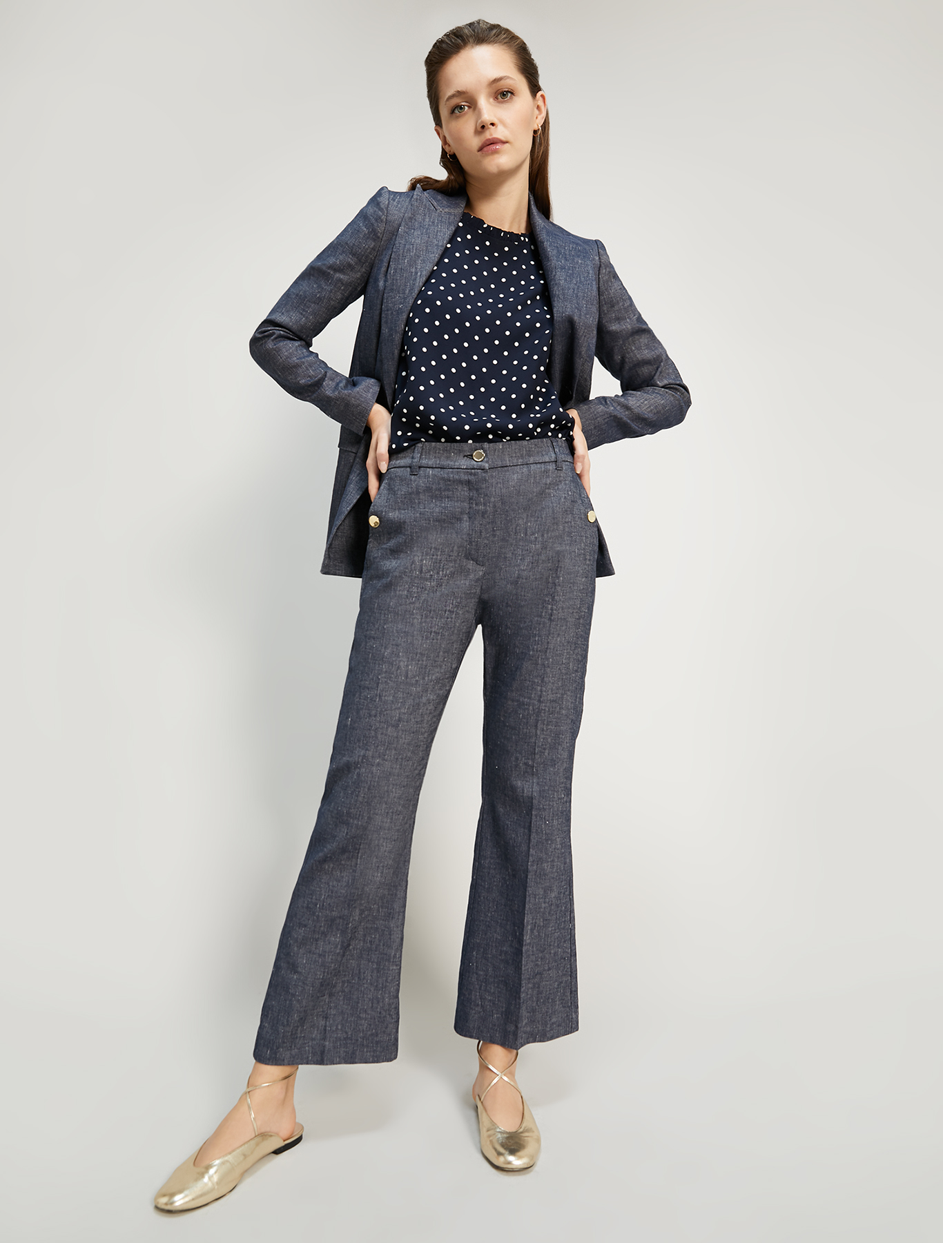 Polka dot sablé top - navy blue pattern - pennyblack