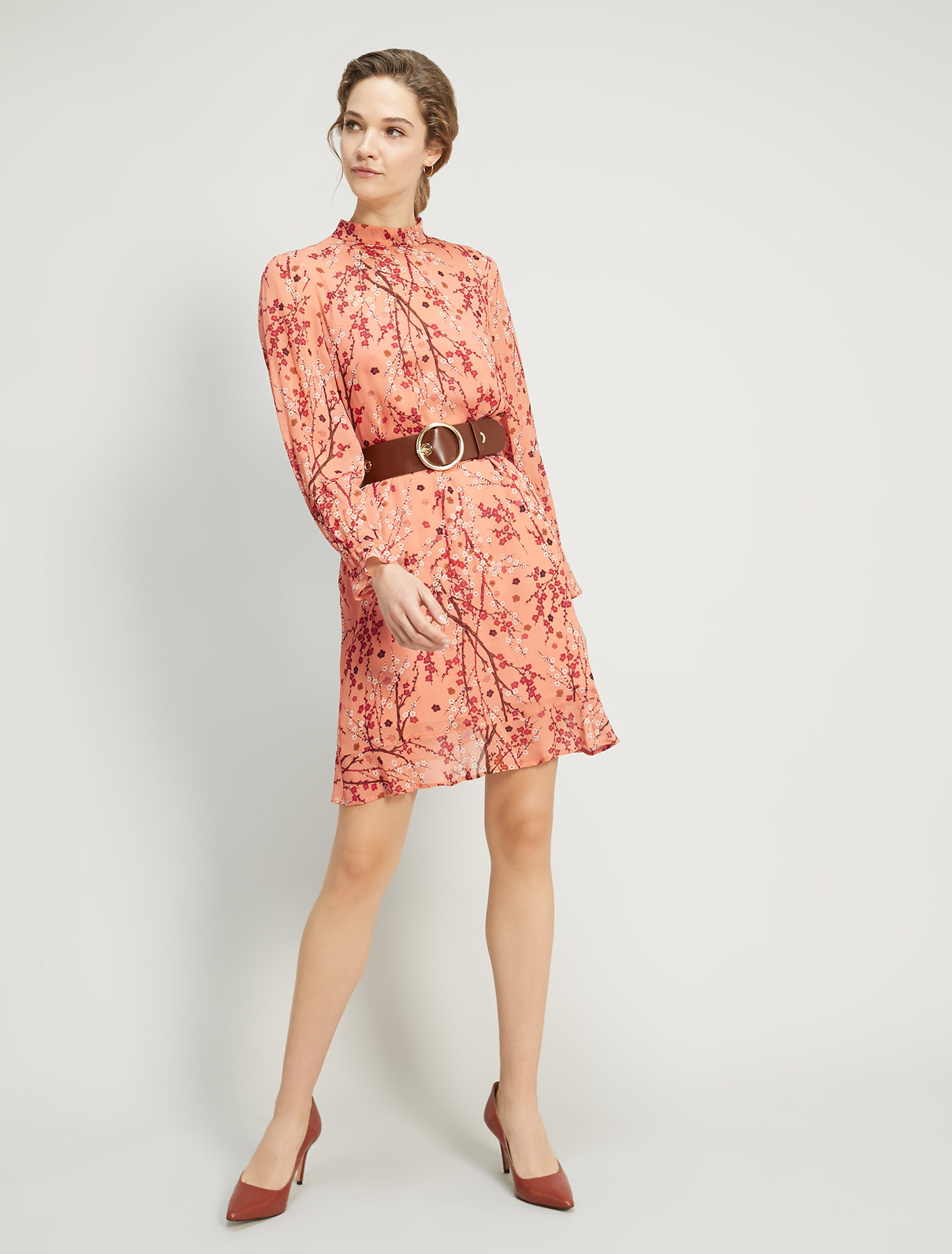 Dress in floral georgette - rose pink pattern - pennyblack