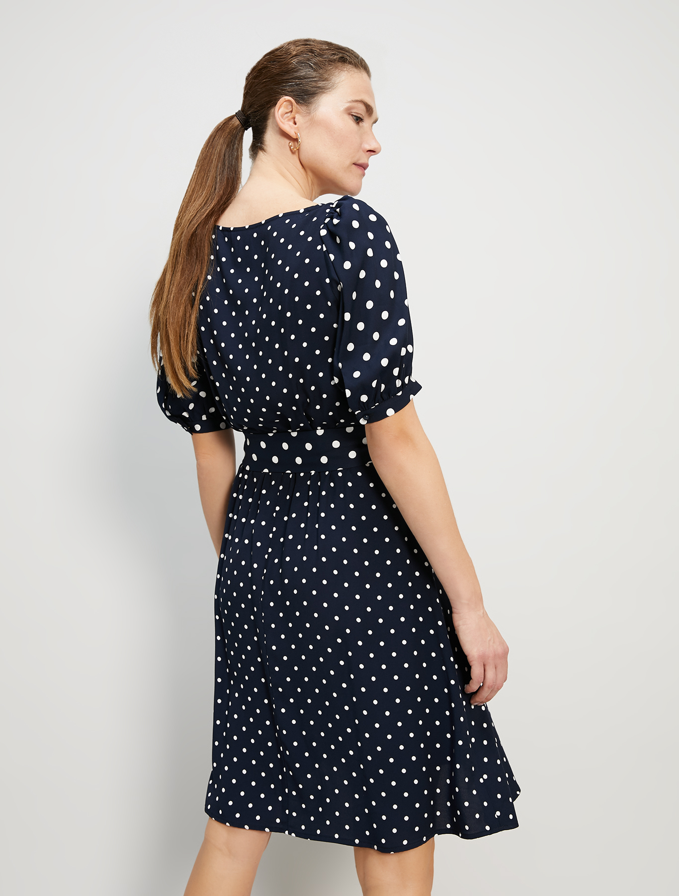 Polka dot sablé dress - navy blue pattern - pennyblack