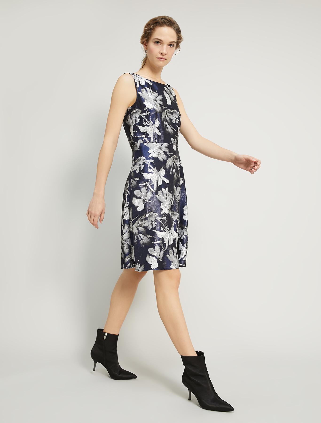 Lamé jacquard dress - navy blue pattern - pennyblack