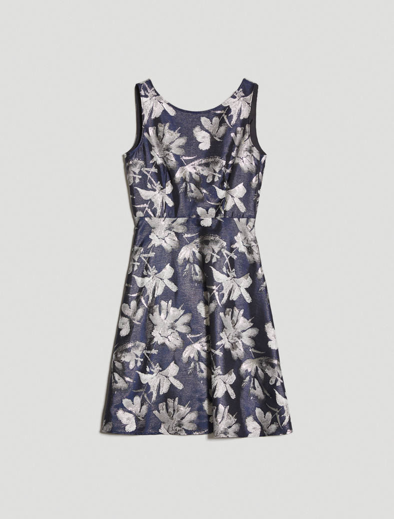 Lamé jacquard dress - navy blue pattern - pennyblack