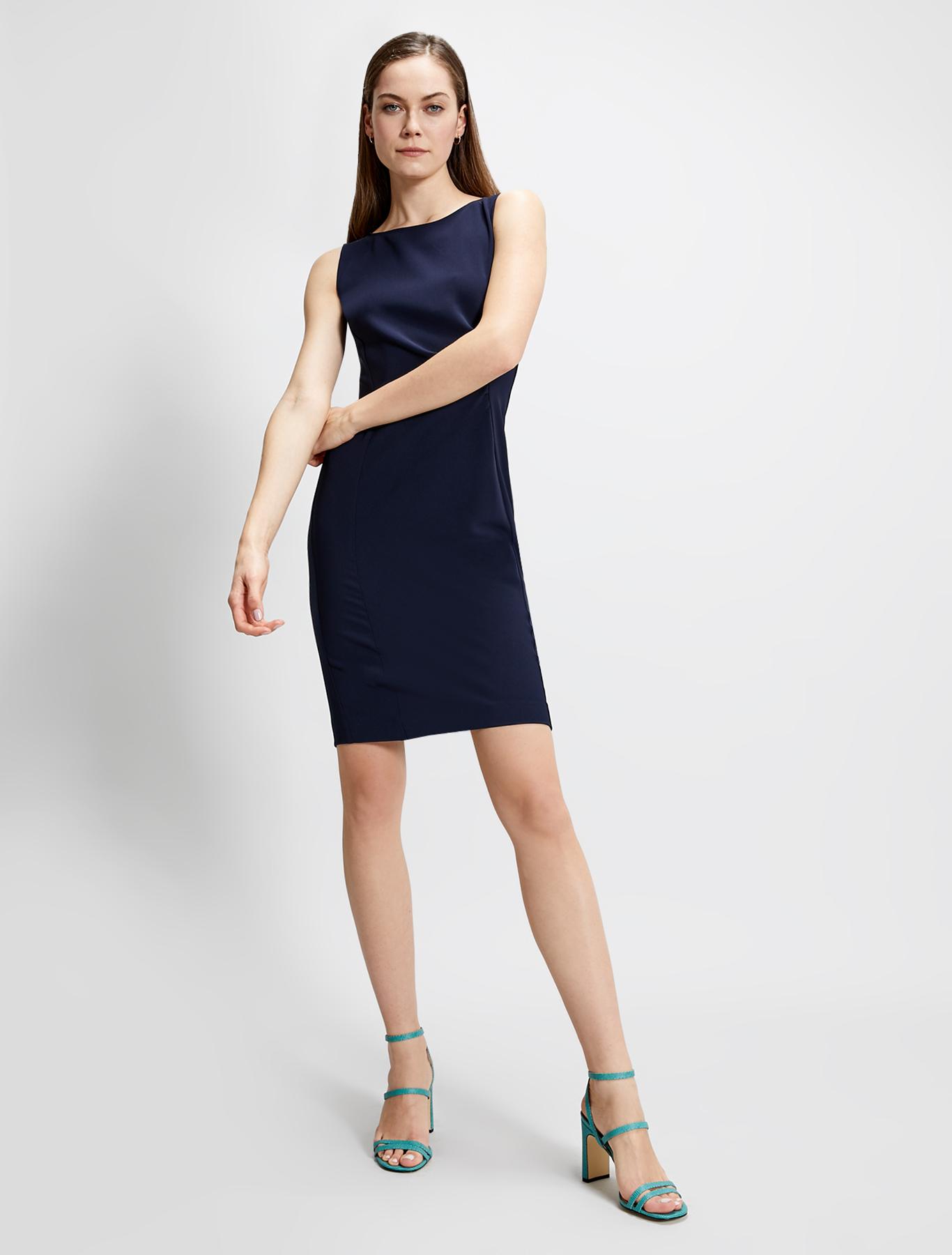 Slim sheath dress with draping - navy blue - pennyblack