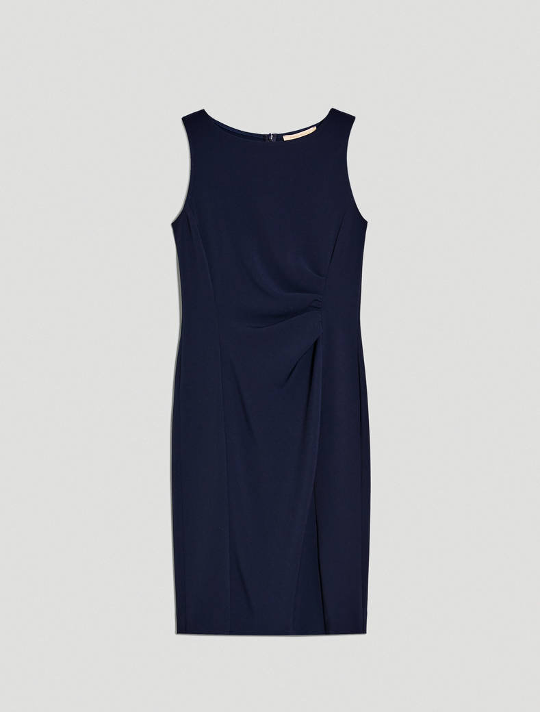 Slim sheath dress with draping - navy blue - pennyblack