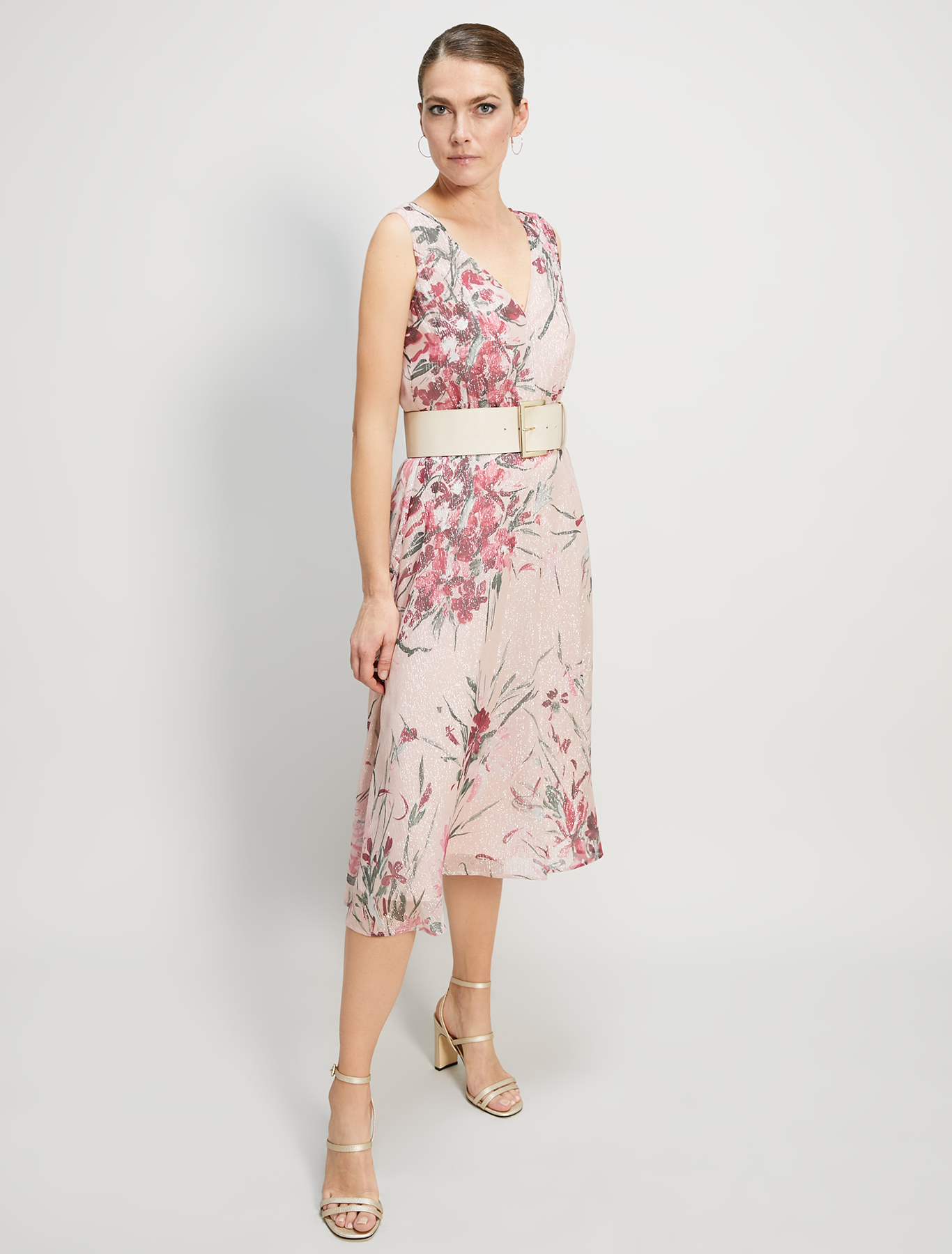Lamé silk midi dress - rose pink pattern - pennyblack