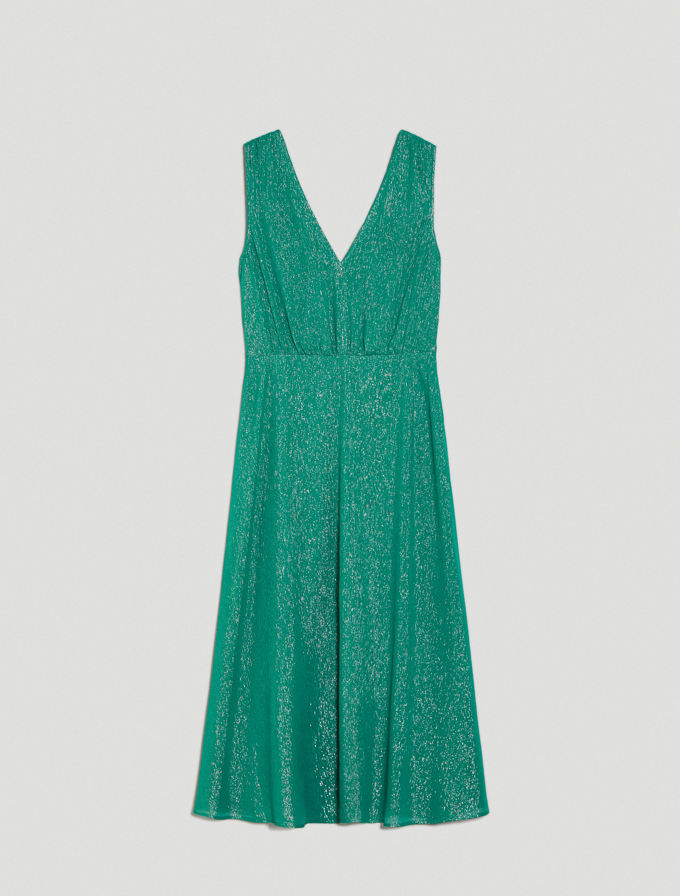 Lamé silk midi dress - green pattern - pennyblack