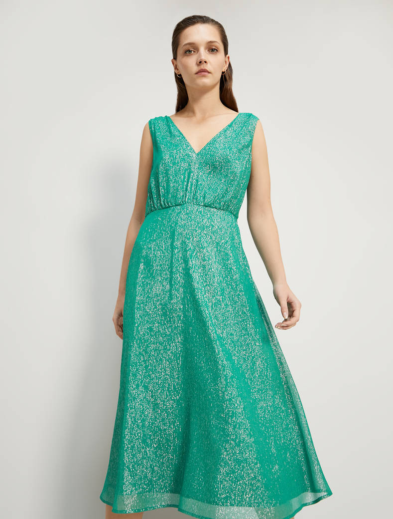 Lamé silk midi dress - green pattern - pennyblack