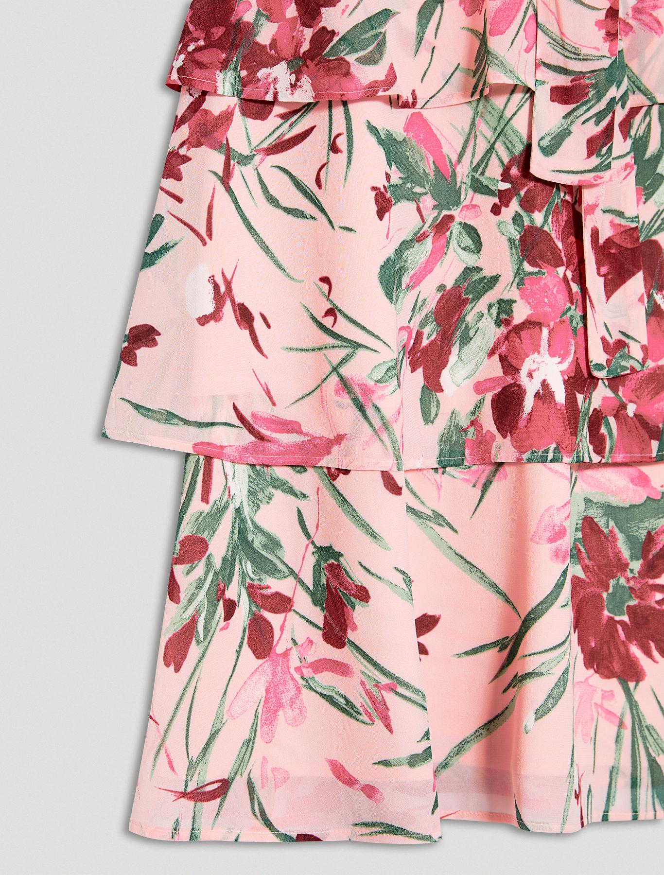 Flounced georgette dress - rose pink pattern - pennyblack