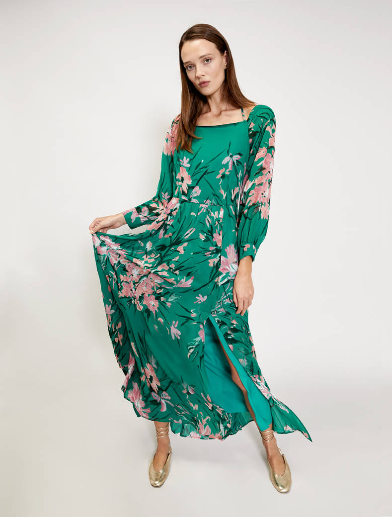 Floral georgette maxi dress - green pattern - pennyblack