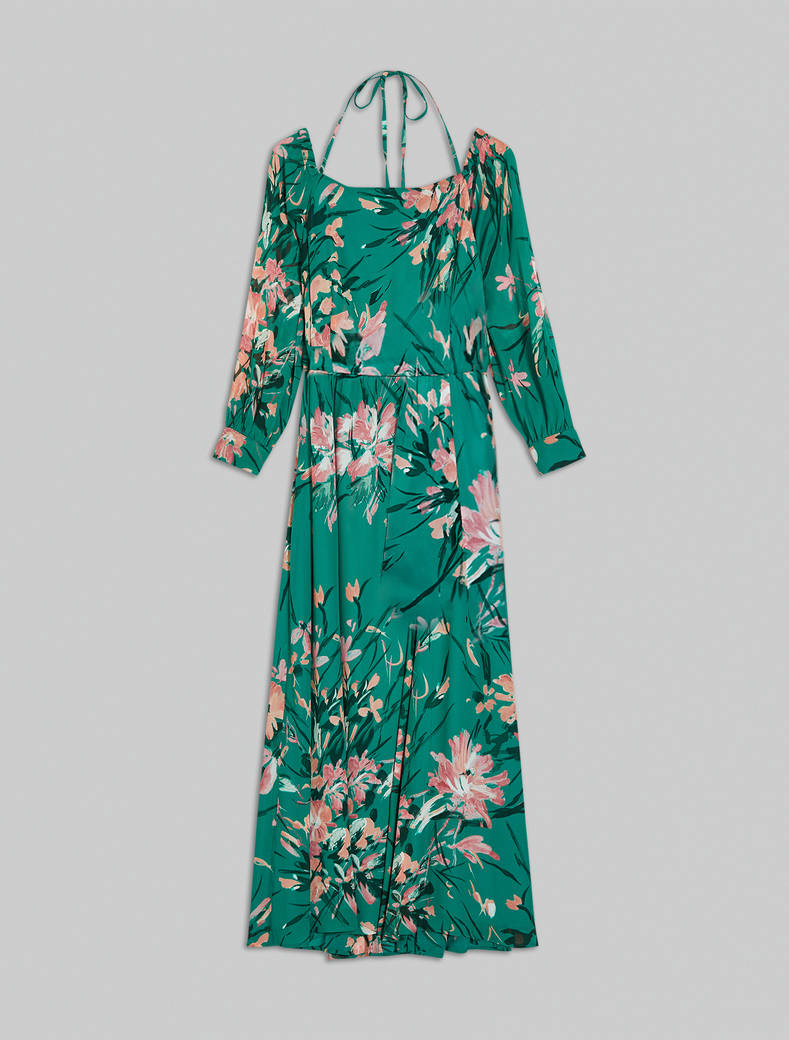 Maxi dress in georgette floreale - fantasia verde - pennyblack