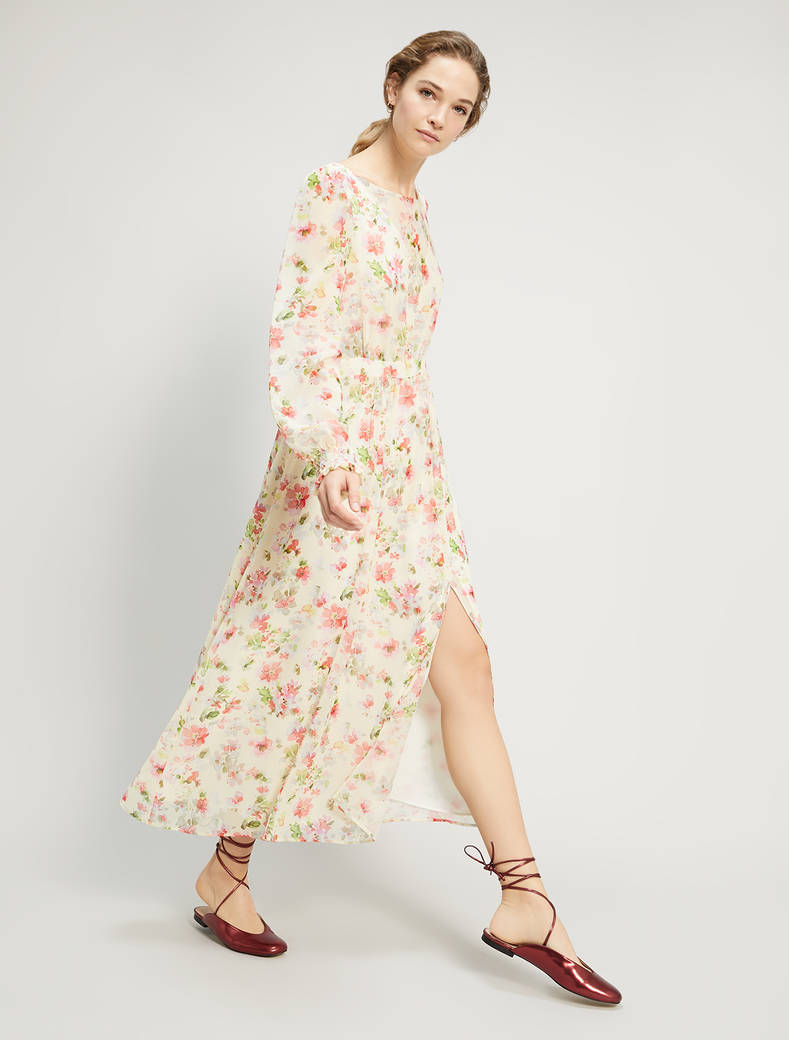 Floral georgette long dress - soft yellow pattern - pennyblack