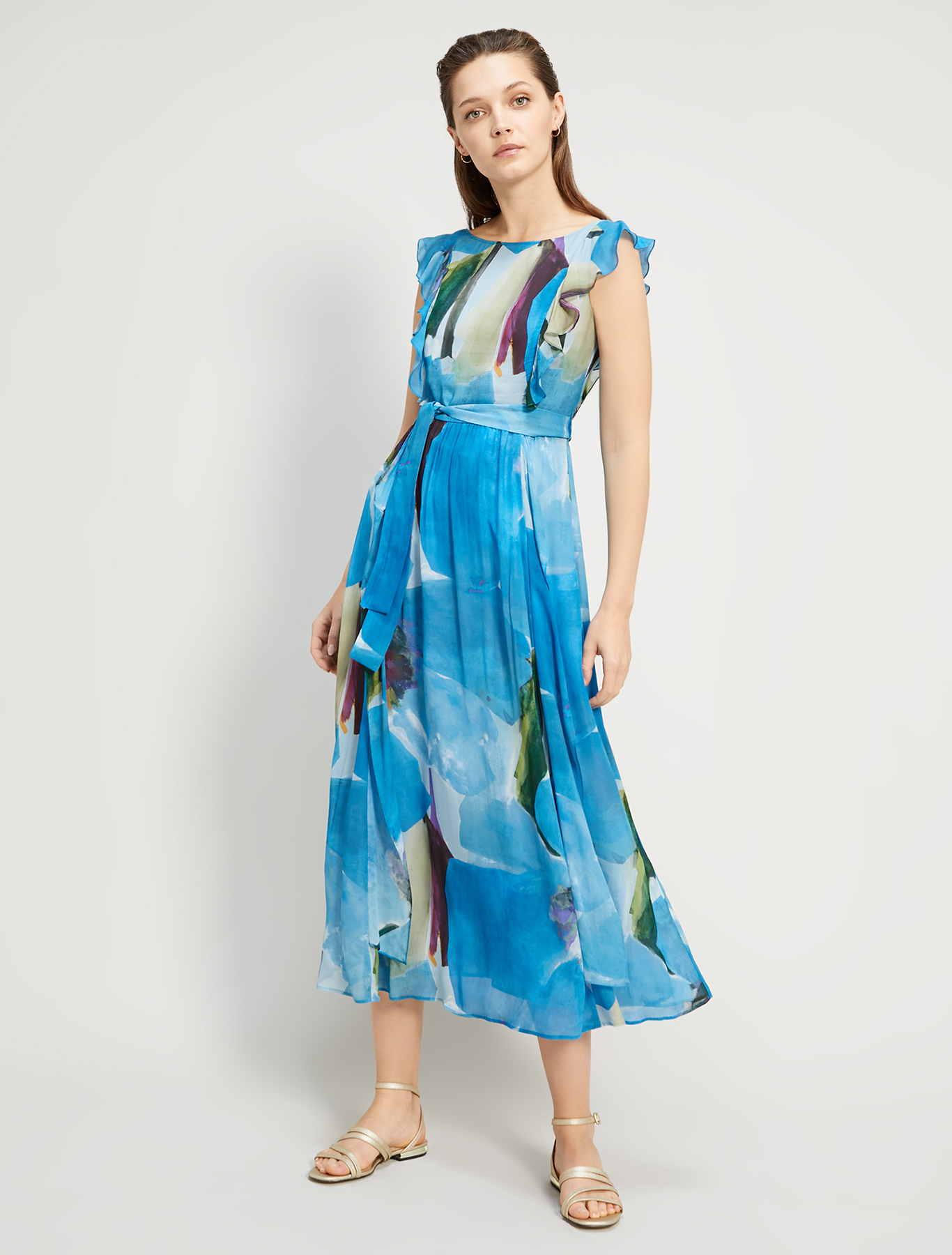 Floral georgette long dress - turquoise pattern - pennyblack