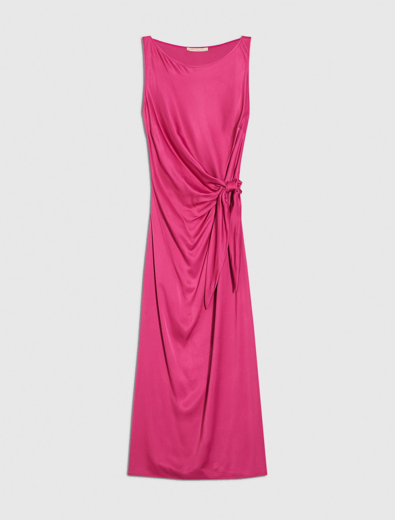 Long knotted satin dress - fuchsia - pennyblack