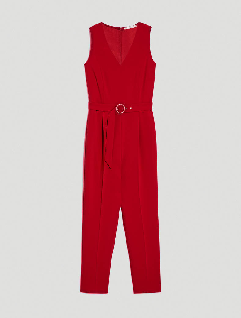 Flowing fabric jumpsuit - red - pennyblack