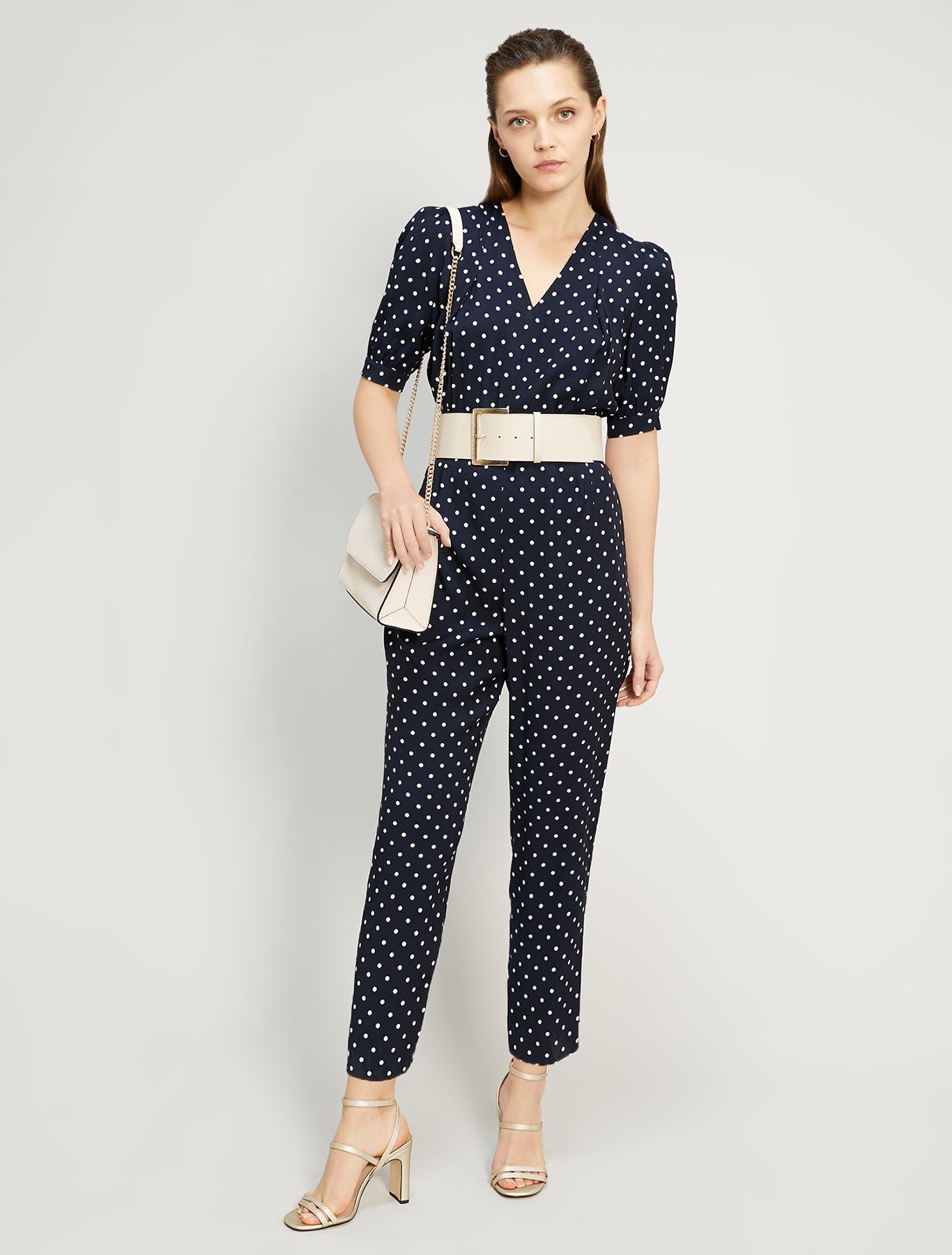 Polka dot sablé jumpsuit - navy blue pattern - pennyblack