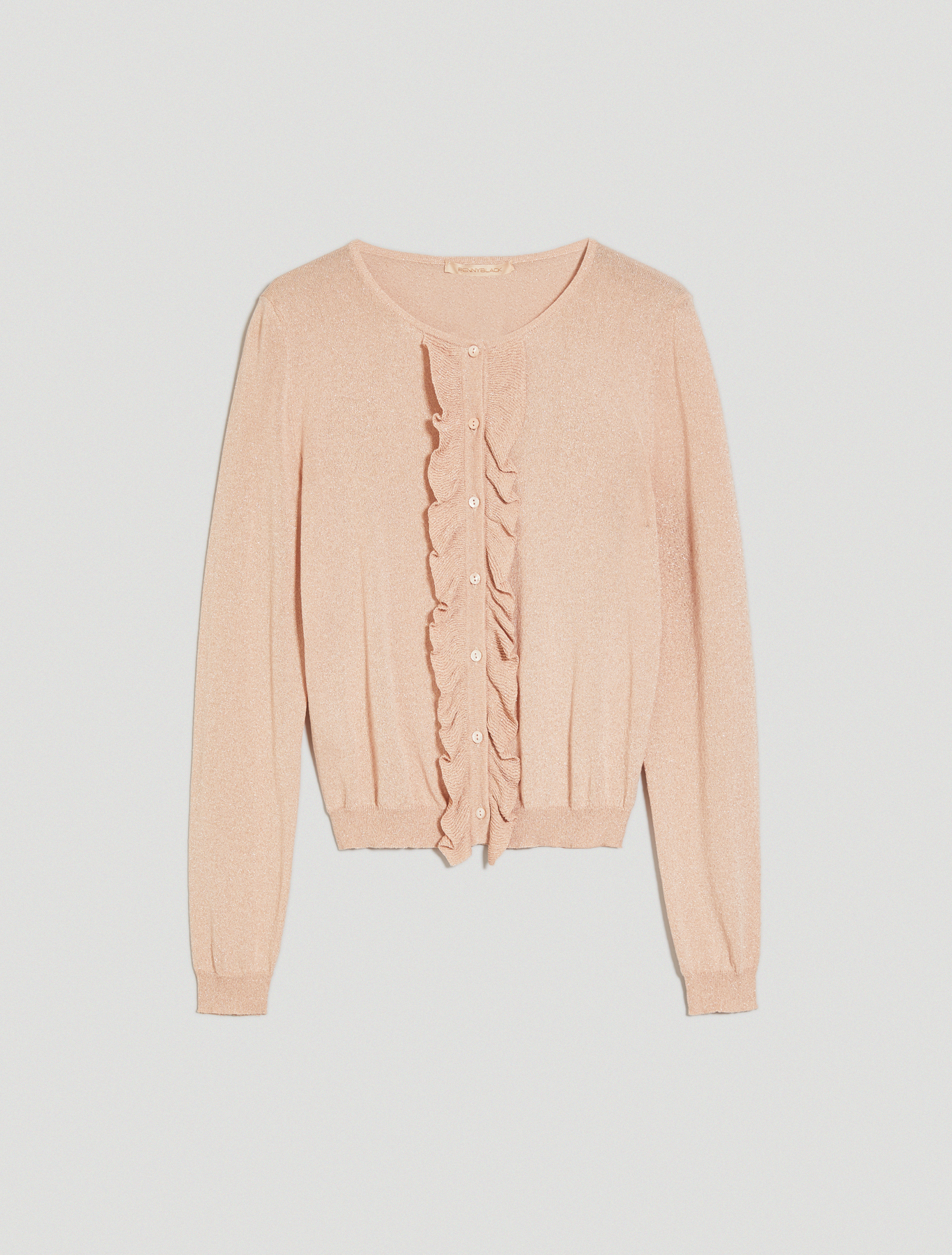 Ruched lamé cardigan - pink - pennyblack