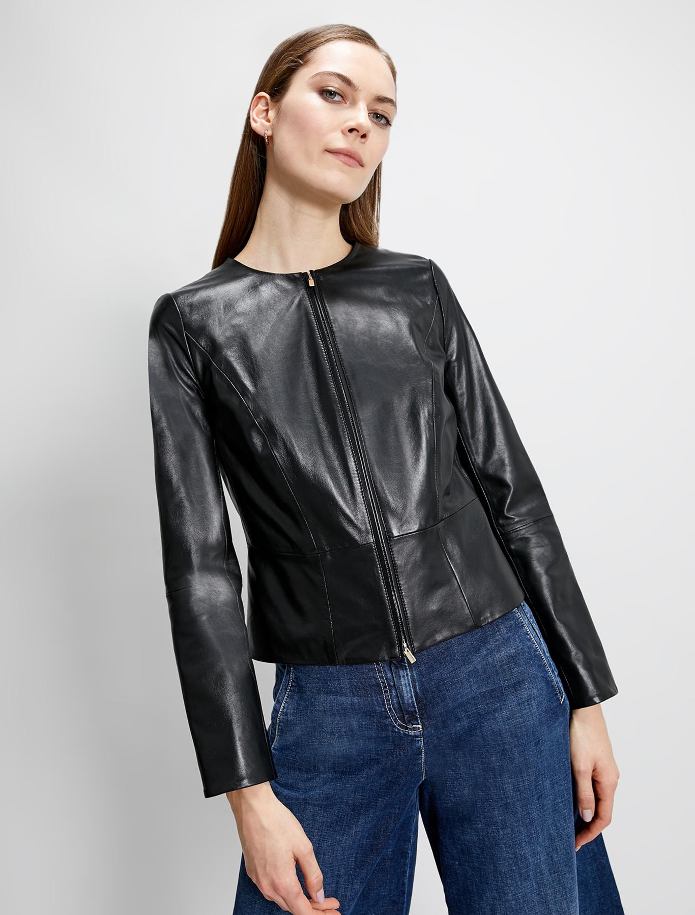 Slim nappa leather jacket - black - pennyblack