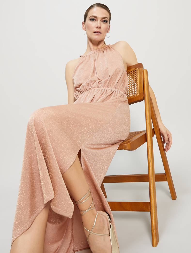 Maxi dress in jersey lamé - rosa - pennyblack