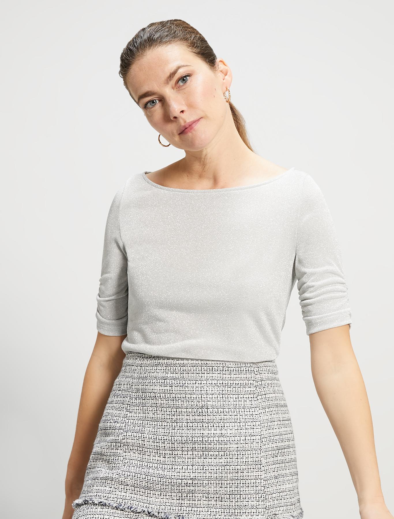 Lamé jersey T-shirt - silver - pennyblack