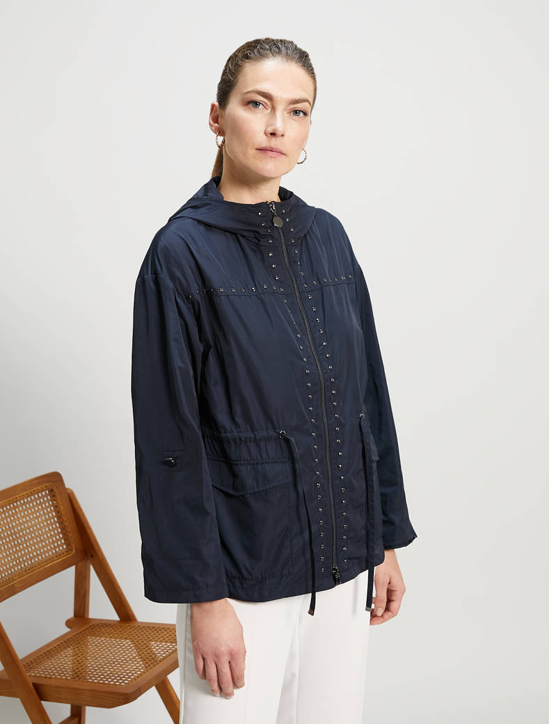 Short parka with studs - midnight blue - pennyblack