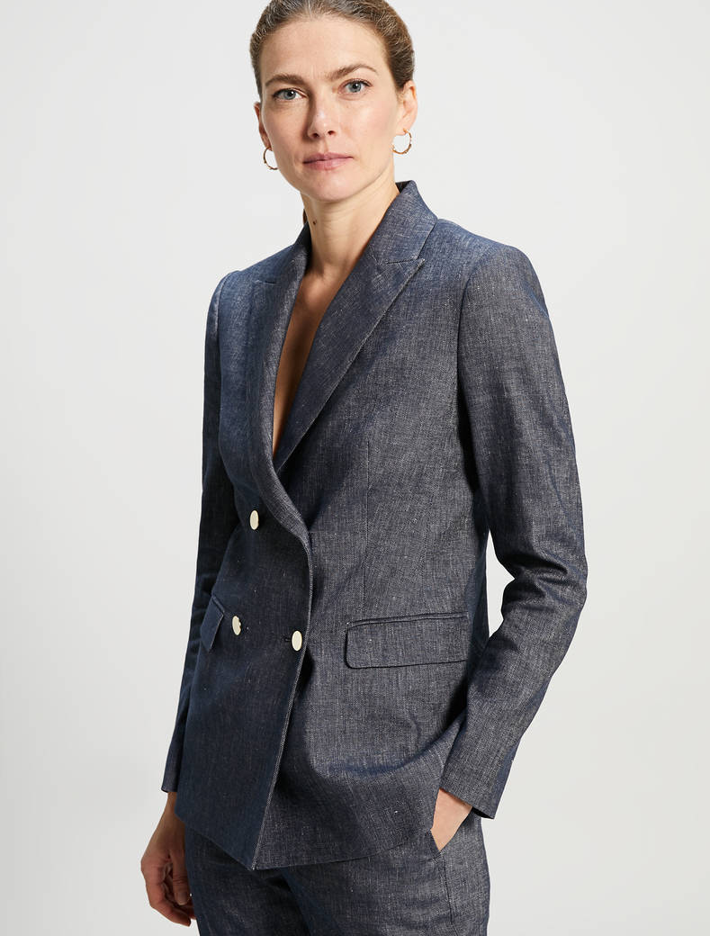 Linen and cotton blazer - navy blue - pennyblack