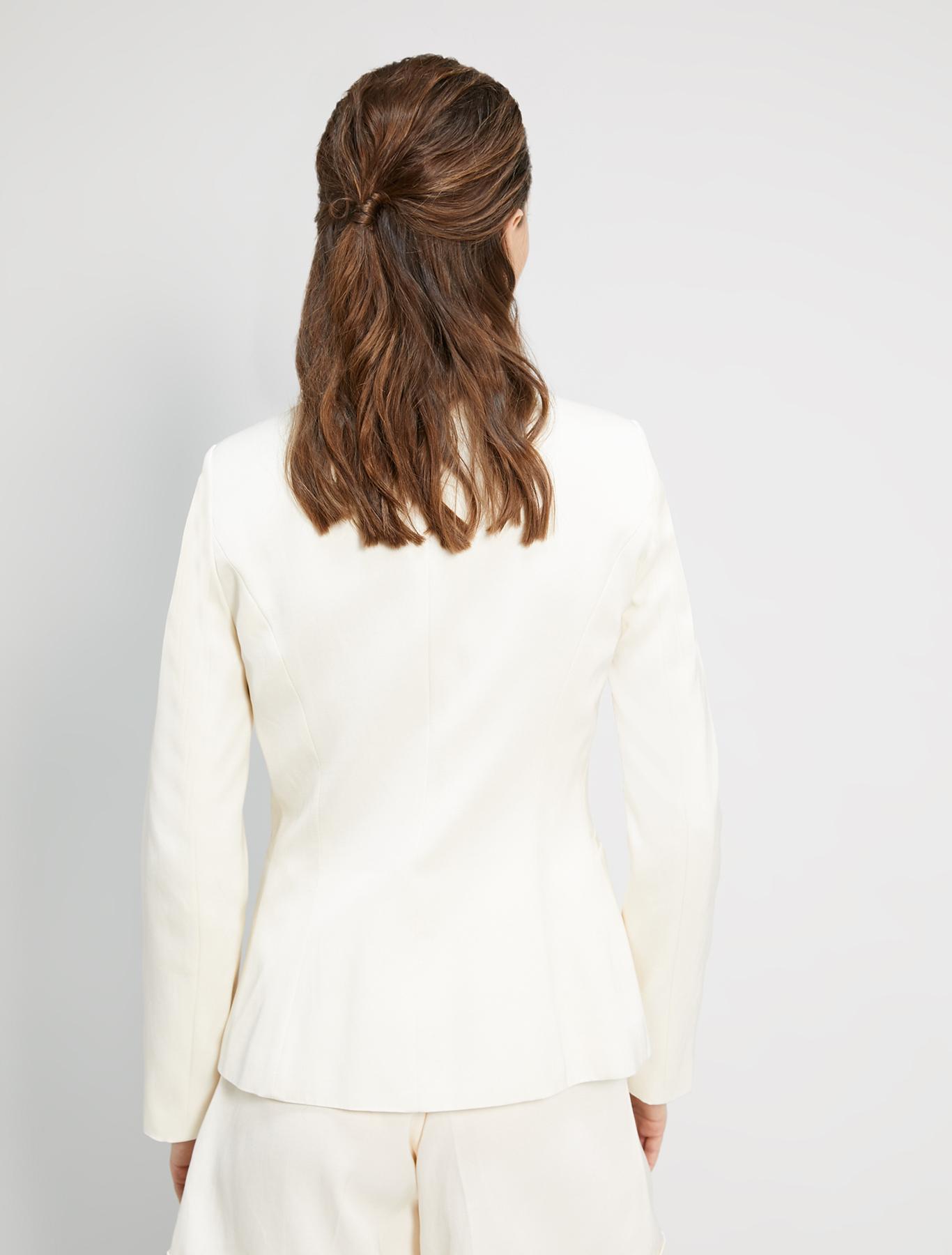 Double-breasted twill blazer - beige - pennyblack